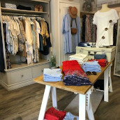 A display of clothing items inside the shop